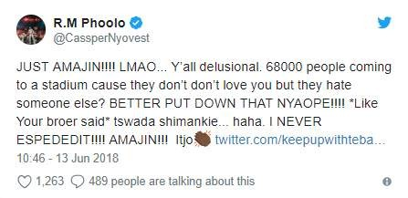 Hitvibes Cassper responds to Twitter user who says he doesn't have fans, just AKA haters News  South Africa Cassper Nyovest AKA