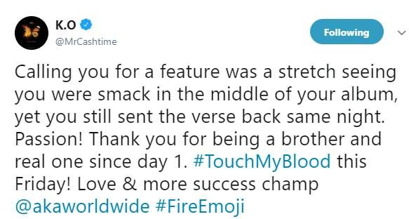 "Hitvibes K.O pens heartfelt note of gratitude to AKA for ""Fire Emoji"" verse News  South Africa K.O AKA"