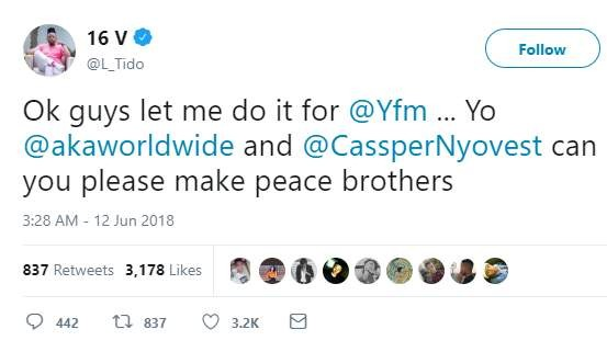 Hitvibes L-Tido fails at another attempt to unite AKA & Cassper Nyovest; Prince Costinyo responds News  South Africa L-Tido Cassper Nyovest AKA