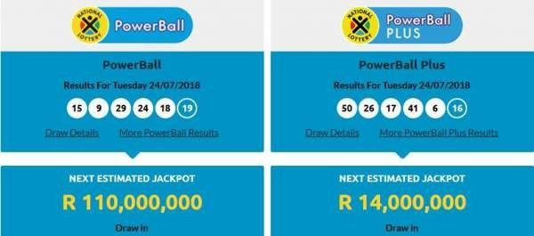 The Latest South African Powerball Results Including Those Of The Secondary Powerball Plus Are Out Following The Draw On Tuesday